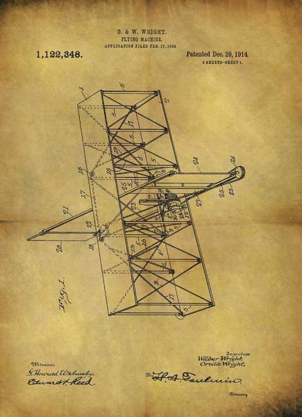 Vintage Airplane Drawing - Wright Brothers Flying Machine Patent by Dan Sproul