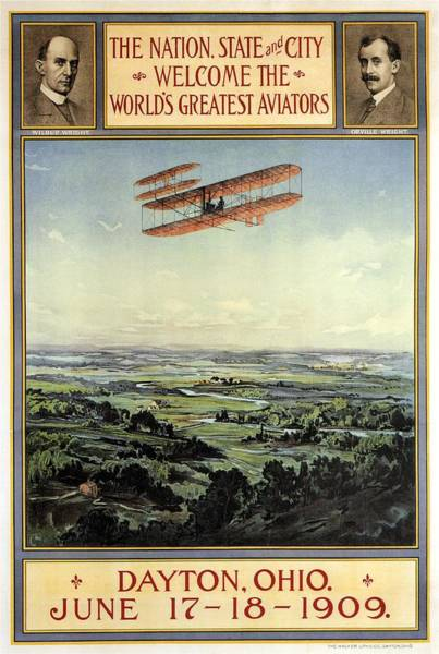 Office Decor Mixed Media - Wright Brothers - World's Greatest Aviators - Dayton, Ohio - Retro Travel Poster - Vintage Poster by Studio Grafiikka