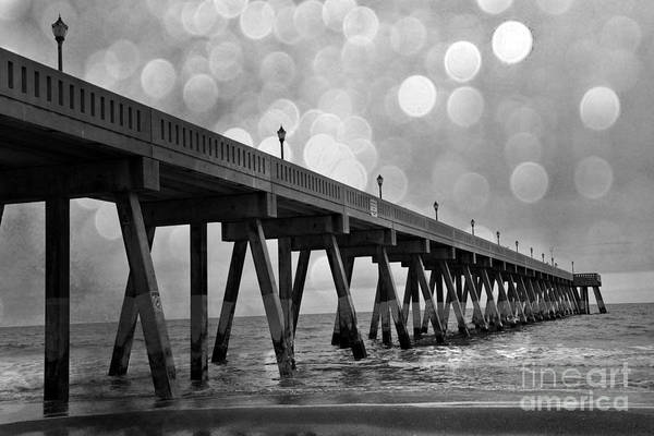 Wrightsville Beach Wall Art - Photograph - Wrightsville Beach North Carolina Ocean Fishing Pier Black And White Photography by Kathy Fornal