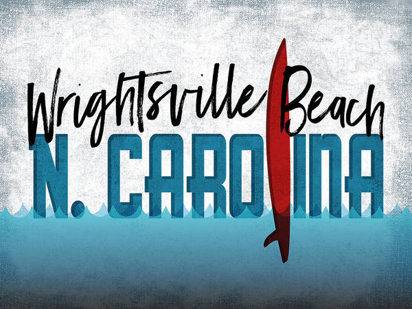 Wrightsville Beach Wall Art - Digital Art - Wrightsville Beach Red Surfboard by Flo Karp
