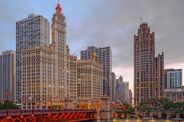 Photograph - Wrigley And Chicago Tribune Buildings - Michigan Avenue Dusable Bridge Chicago Illinois by Silvio Ligutti