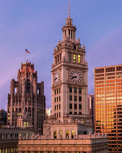 Photograph - Wrigley And Tribune Buildings by Ryan Smith