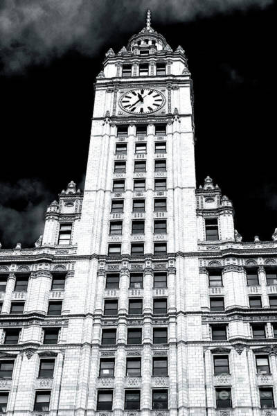 Wall Art - Photograph - Chicago Wrigley Building Clock Tower Close Up by John Rizzuto