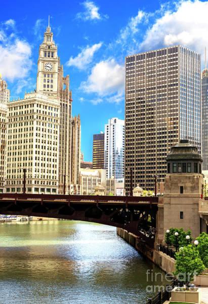 Wall Art - Photograph - Chicago Wrigley Building Clock Tower by John Rizzuto