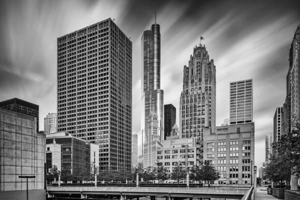 Photograph - Wrigley Equitable Buildings - Trump Chicago Tribune Tower - Black White - Chicago Illinois by Silvio Ligutti