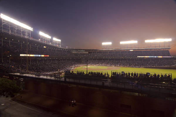 Photograph - Wrigley Field At Dusk 2 by Sven Brogren