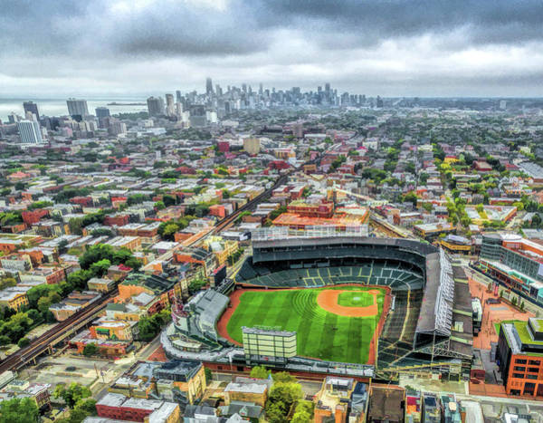 Wrigley Field Chicago Skyline Art Print