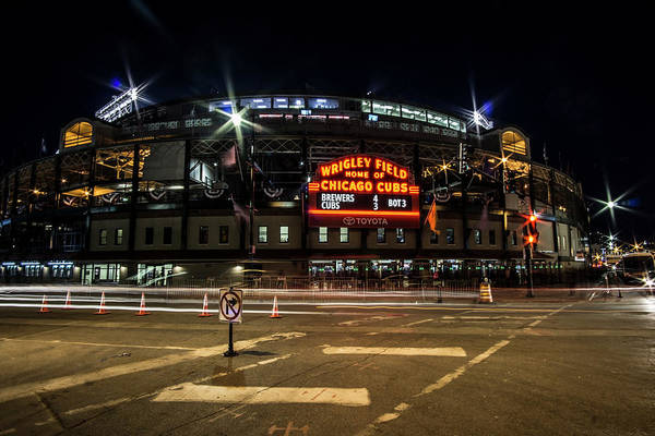 Photograph - Wrigley Field Marquee At Night by Sven Brogren