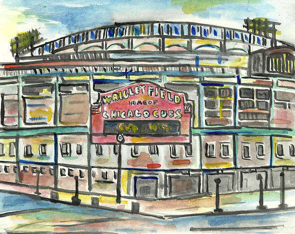 Baseball Painting - Wrigley Field by Matt Gaudian