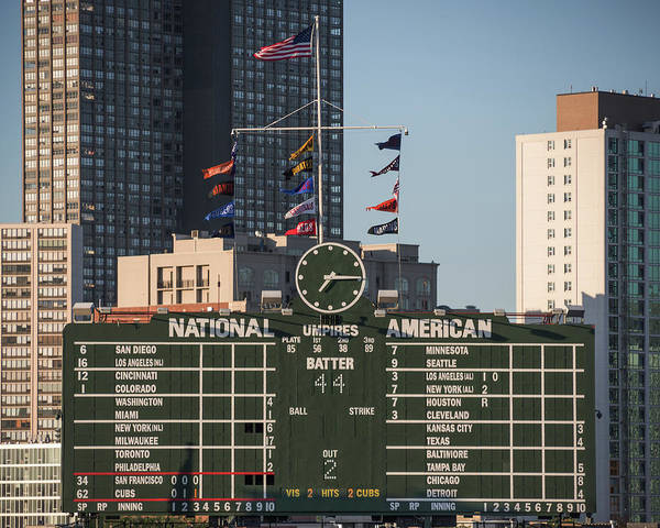 Photograph - Wrigley Field Scoreboard by Jemmy Archer