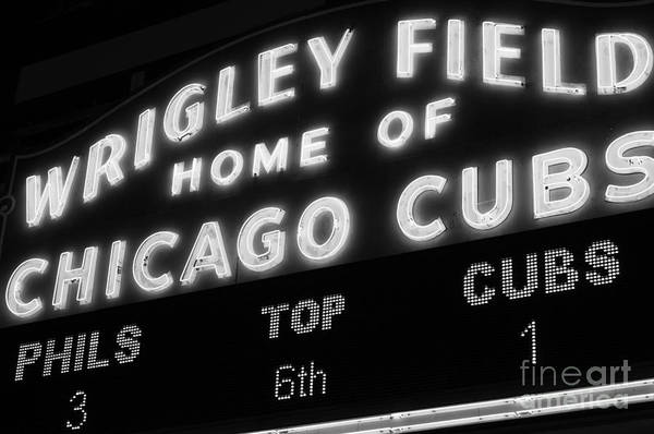 Chicago Black White Wall Art - Photograph - Wrigley Field Sign Black And White Picture by Paul Velgos