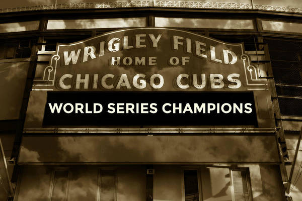 Vintage Neon Sign Photograph - Wrigley Field Sign - Vintage by Stephen Stookey