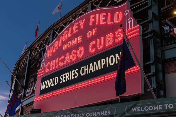 Wall Art - Photograph - Wrigley Field World Series Marquee by Steve Gadomski