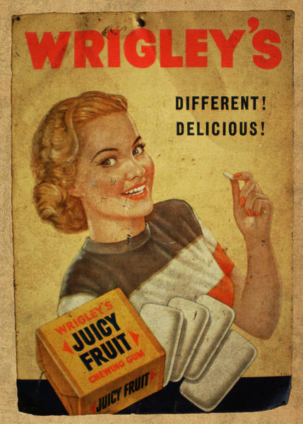 Chewing Wall Art - Mixed Media - Wrigleys Juicy Fruit Chewing Gum Vintage Ad Poster by Design Turnpike