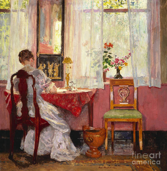 Back Painting - Writing by Gari Melchers