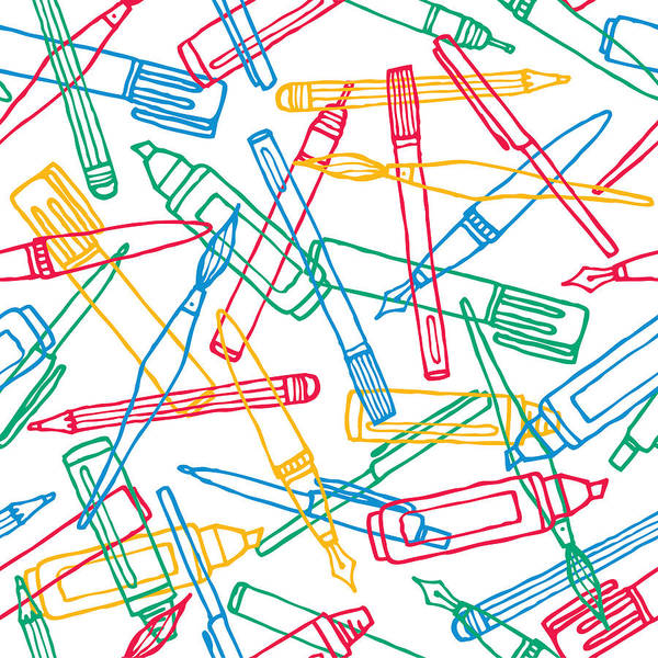 Back-to-school Digital Art - Writing Instruments Texture Background Pattern by Diego Schtutman