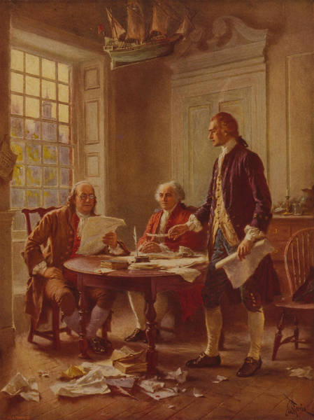 Wall Art - Painting - Writing The Declaration Of Independence by Jean Leon Gerome Ferris