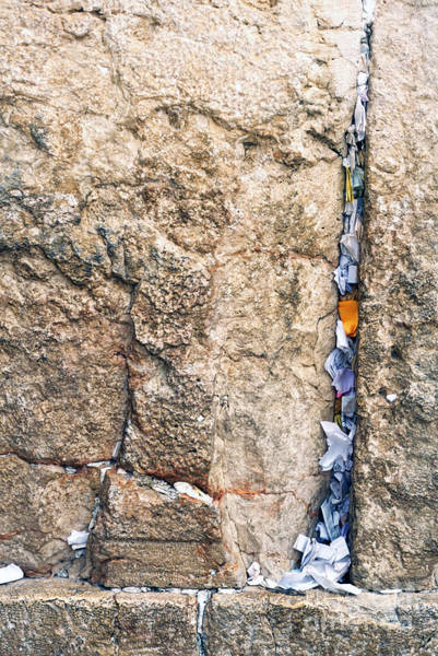 Jewish Homeland Photograph - Written Prayers Tucked Into Cracks Western Wall Jerusalem by Thomas R Fletcher