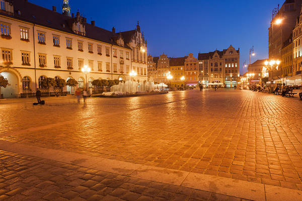 Tenement Photograph - Wroclaw Old Town Market Square At Night by Artur Bogacki
