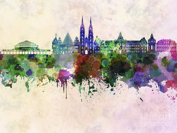 Poland Painting - Wroclaw Skyline In Watercolor Background by Pablo Romero