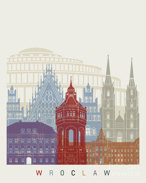 Poland Painting - Wroclaw Skyline Poster by Pablo Romero