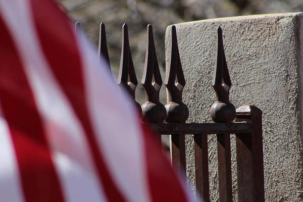 Photograph - Wrought Iron And American Flag by Colleen Cornelius