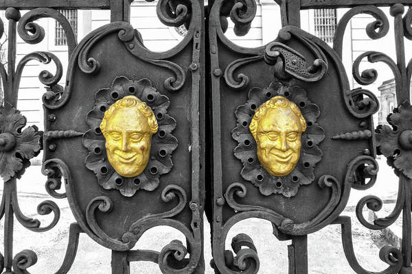 Photograph - Wrought Iron Gate With Baroque Grinning Gold Cherubs by Menega Sabidussi