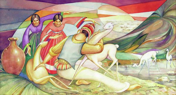 Bolivia Painting - Ws1955bo003 Vicunas Of Bolivia Potosi 17.5x8.75 by Alfredo Da Silva