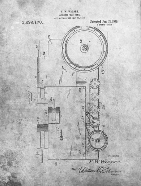 Wall Art - Drawing - Ww1 Tank Patent by Dan Sproul