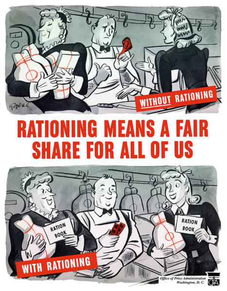 World War Ii Painting - Ww2 Rationing Cartoon by War Is Hell Store