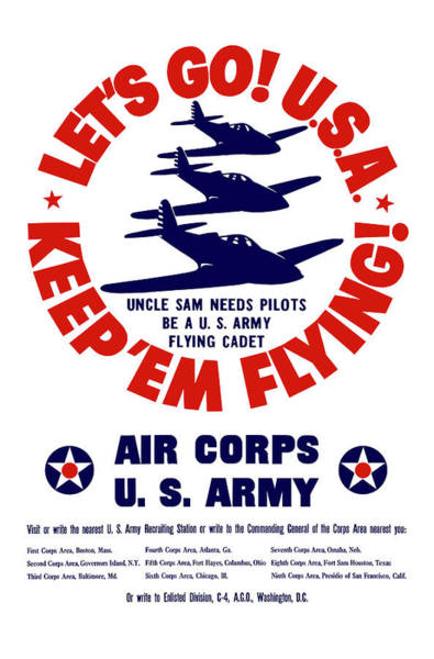 Wall Art - Painting - Us Army Air Corps - Ww2 by War Is Hell Store