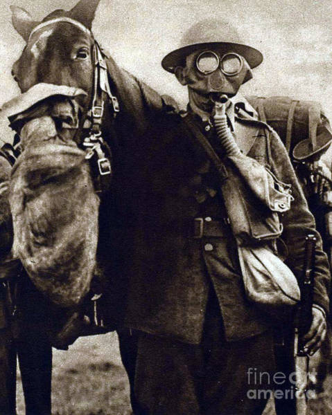 Wall Art - Photograph - Wwi, Gas Masks On British Soldier by Science Source