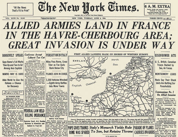 Photograph - Wwii: D-day Newspaper 1944 by Granger