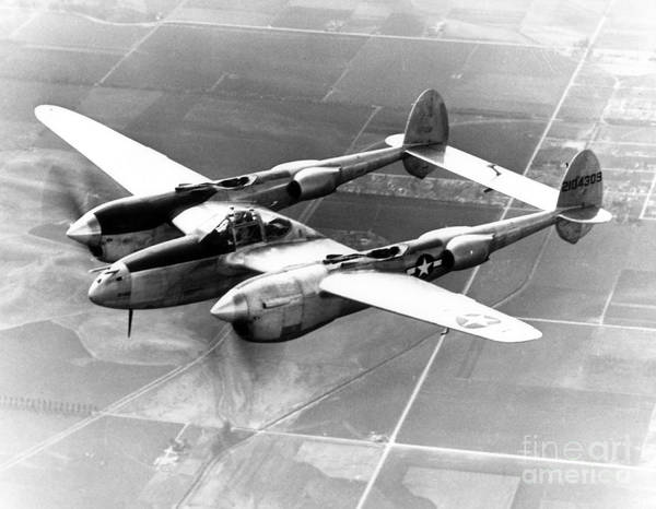 Photograph - Wwii, Lockheed P-38 Lightning, 1940s by Science Source