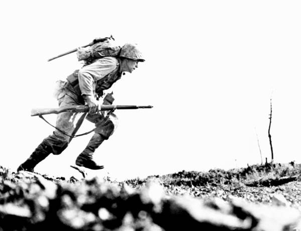 Death Valley Photograph - Wwii Marine Crosses Death Valley Okinawa by Historic Image