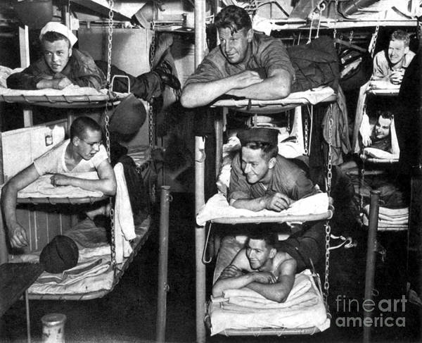 Shipmates Photograph - Wwii, Usn Sailors In Bunks, 1943 by Science Source