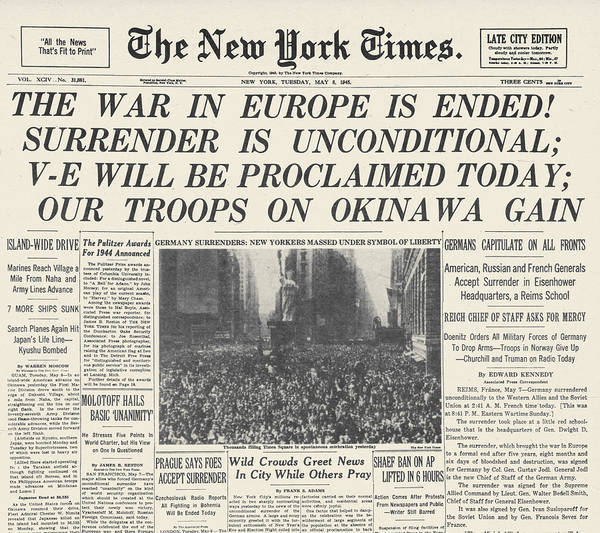 Photograph - Wwii: V-e Day Frontpage by Granger