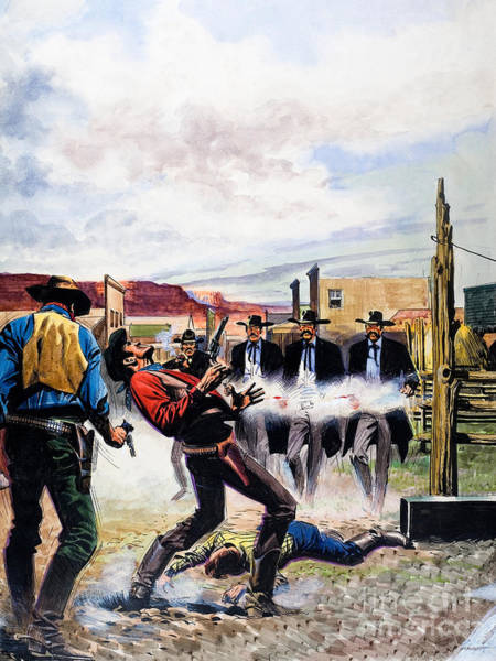 Wall Art - Painting - Wyatt Earp And The Battle Of The Ok Corral by English School