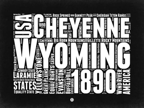 Jackson Hole Wall Art - Digital Art - Wyoming Black And White Word Cloud Map by Naxart Studio