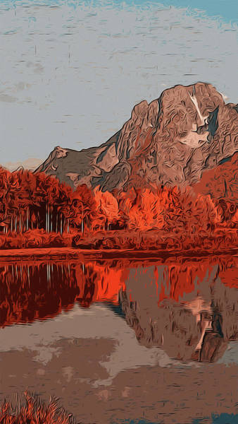 Painting - Wyoming Grand Teton National Park In Autumn by Andrea Mazzocchetti