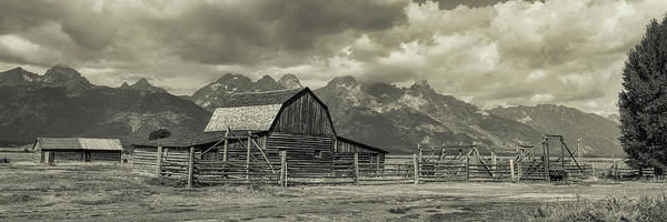 Photograph - Wyoming Mormon Row Moulton Barn Silver Panorama by James BO Insogna