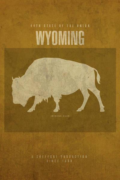 Buffalo Mixed Media - Wyoming State Facts Minimalist Movie Poster Art by Design Turnpike