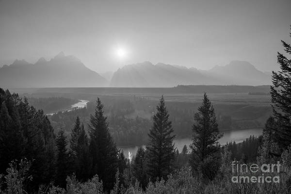 Moose Art Photograph - Wyoming Sunset At Snake River Bw by Michael Ver Sprill