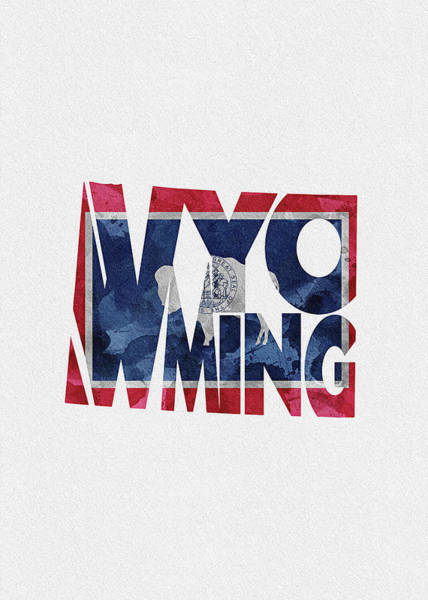 Digital Art - Wyoming Typographic Map Flag by Inspirowl Design