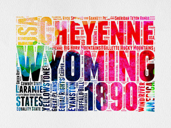 Wyoming Wall Art - Digital Art - Wyoming Watercolor Word Cloud Map by Naxart Studio