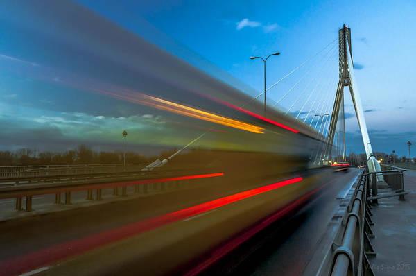 Photograph - Wzzzz... Swietokrzyski Bridge In Warsaw At Blue Hour by Julis Simo