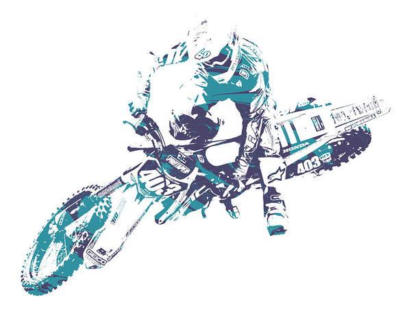 Enduro Wall Art - Mixed Media - X Games Motocross Pixel Art 2 by Joe Hamilton
