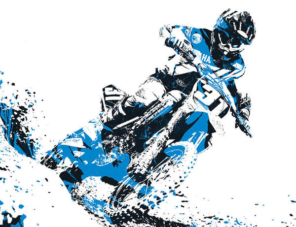 Enduro Wall Art - Mixed Media - X Games Motocross Pixel Art 4 by Joe Hamilton