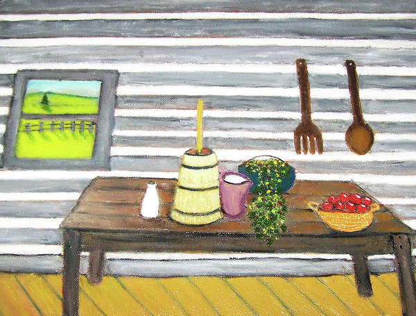 Butter Churn Painting - Country Table by Claude Greene