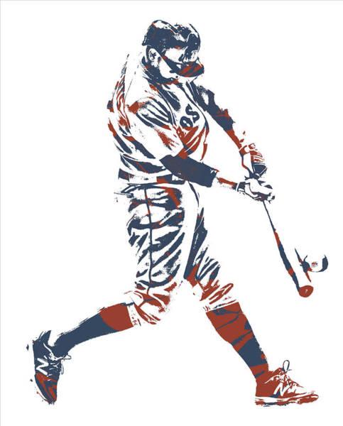 Wall Art - Mixed Media - Xander Bogaerts Boston Red Sox Pixel Art 11 by Joe Hamilton